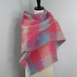 Vintage Mohair/Wool Plaid Blanket Scarf